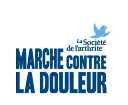 Logo : le nom de l'événement en grandes lettres en bleu-vert. La Société de l'arthrite. Dessin d'un oiseau bleu ciel qui s'envole.